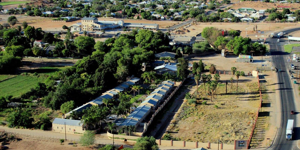 Kakamas Accommodation | Palmhof Chalets Aerial View